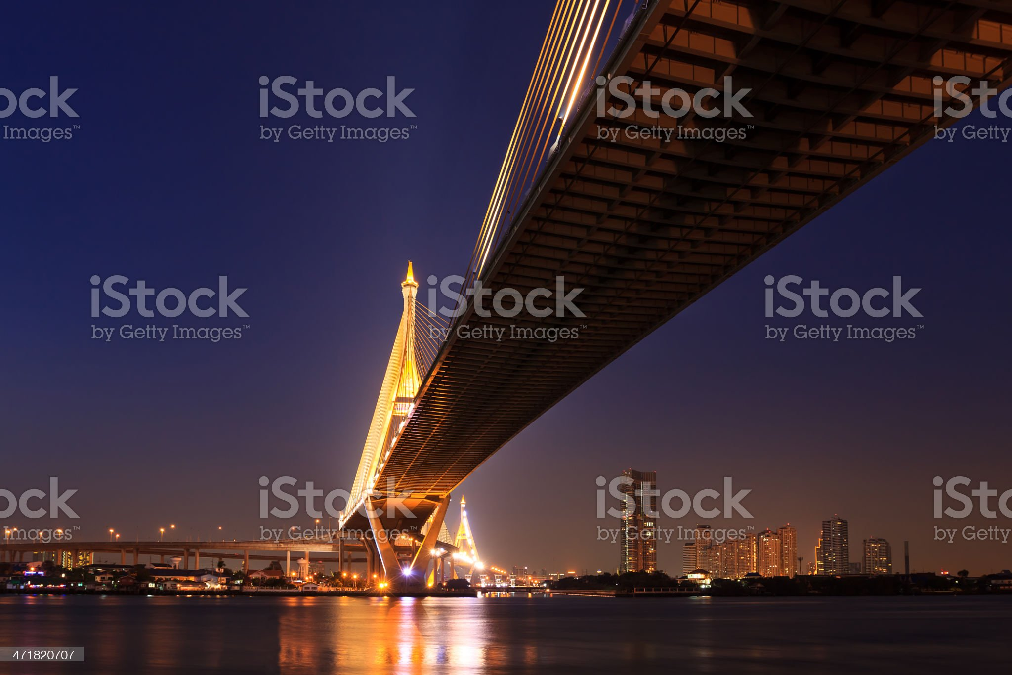 Large bridge over Chao Phraya river at twillight royalty-free stock photo
