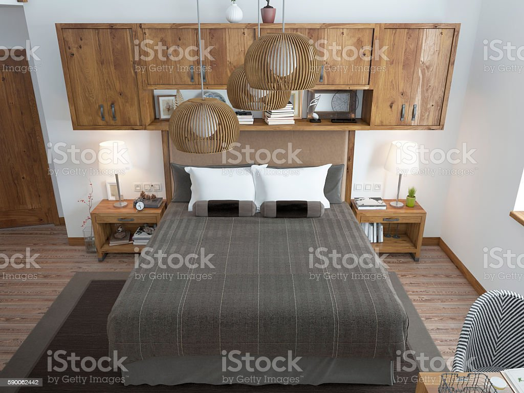 Large bright bedroom in the loft. stock photo