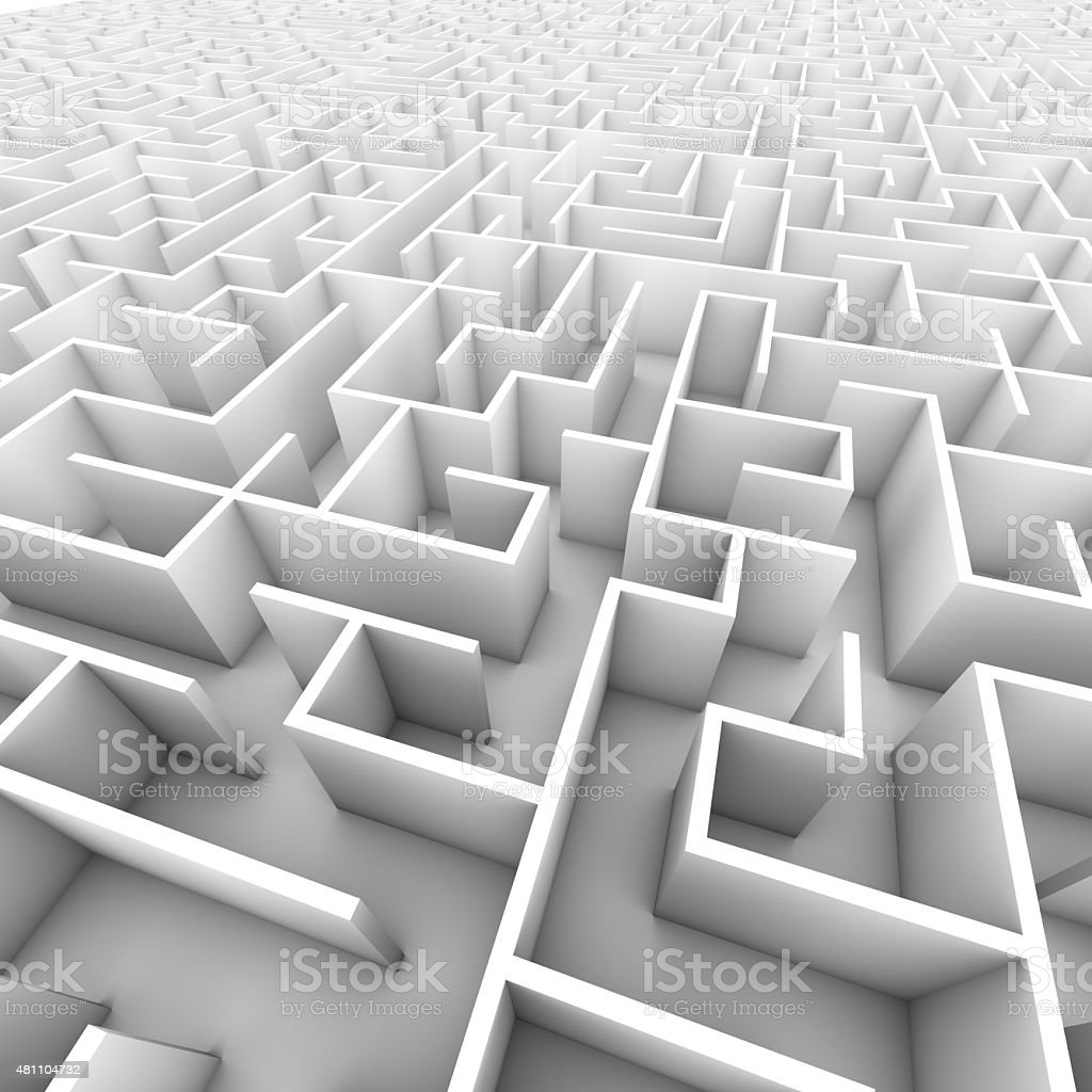 Large Bright White Walled Maze stock photo