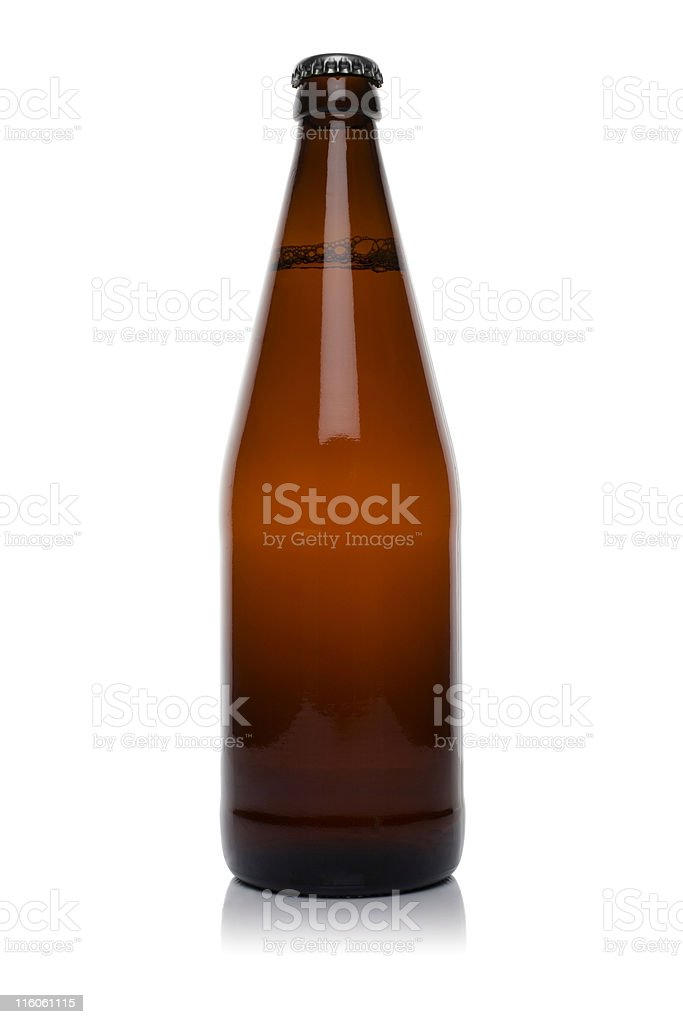 Large brown glass bottle of beer or cider on white royalty-free stock photo
