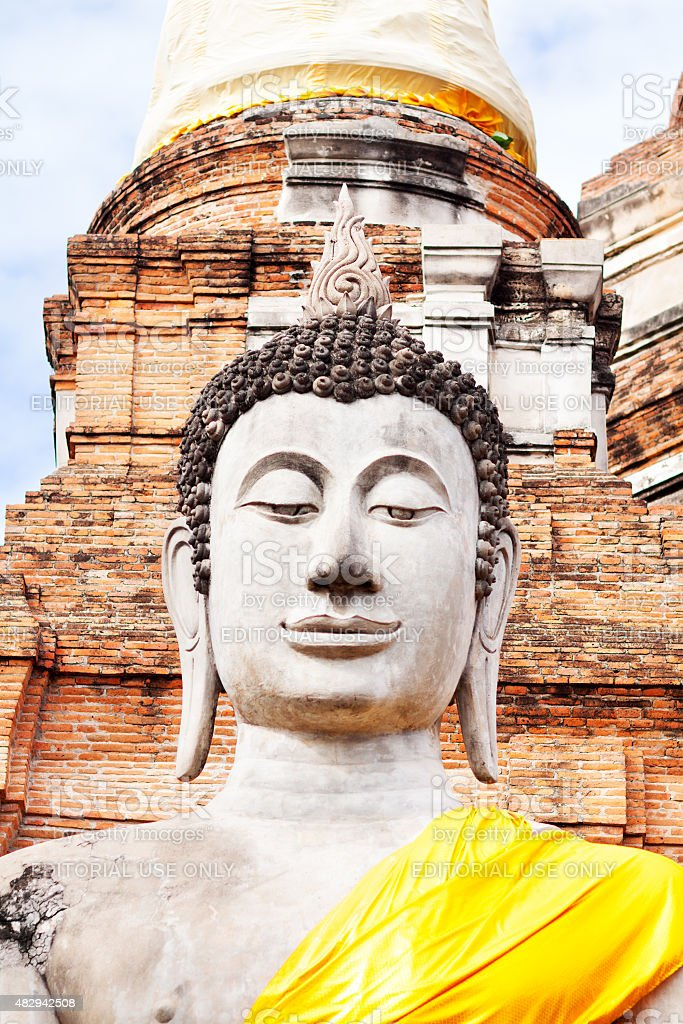 Large buddha and pagoda in Wat Ya Chai Mongkhon stock photo