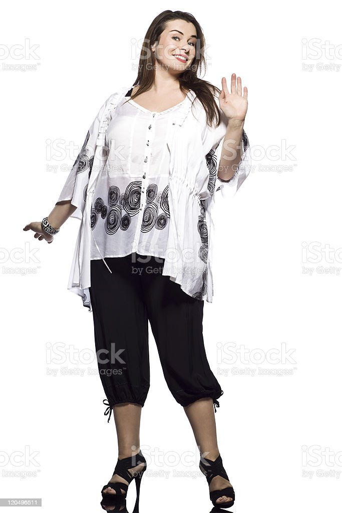 large build caucasian woman spring summer fashion stock photo