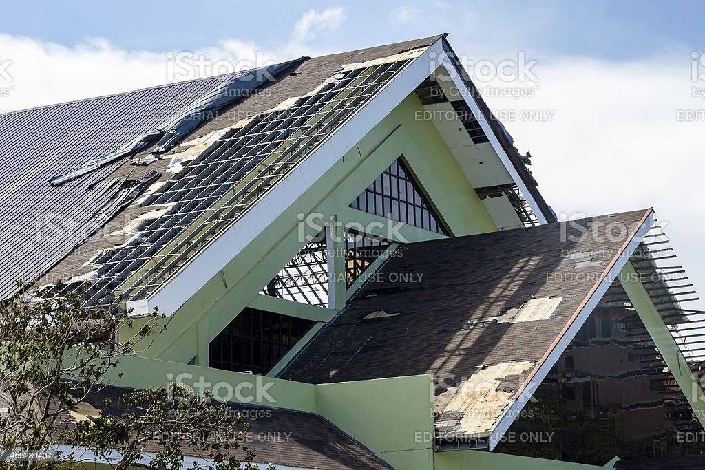 Large buildings damaged by Super Typhoon Haiyan stock photo