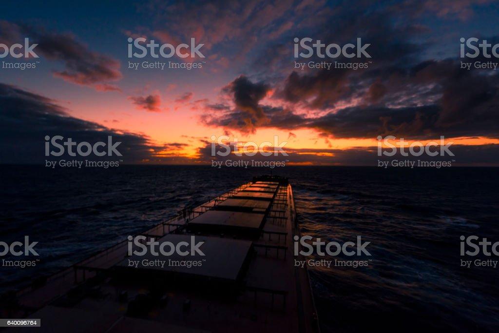 Large Bulk Carrier in the ocean stock photo