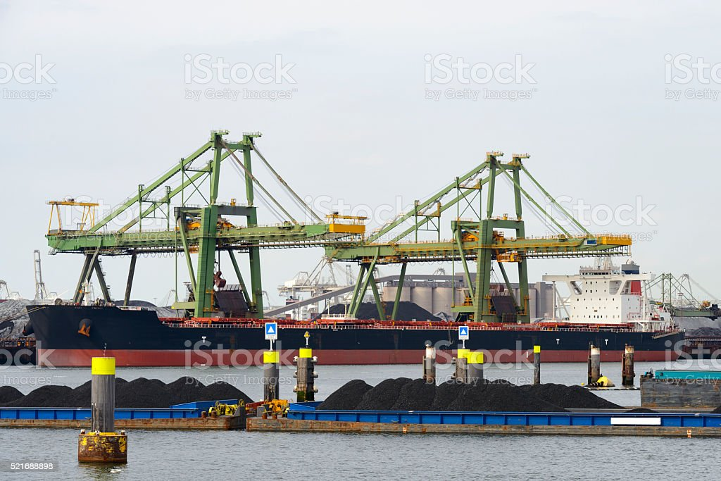 Large bulk carrier with coal in port stock photo