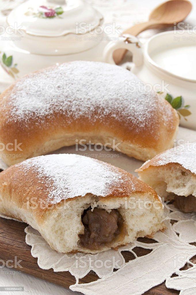 Large bun with apple jam royalty-free stock photo