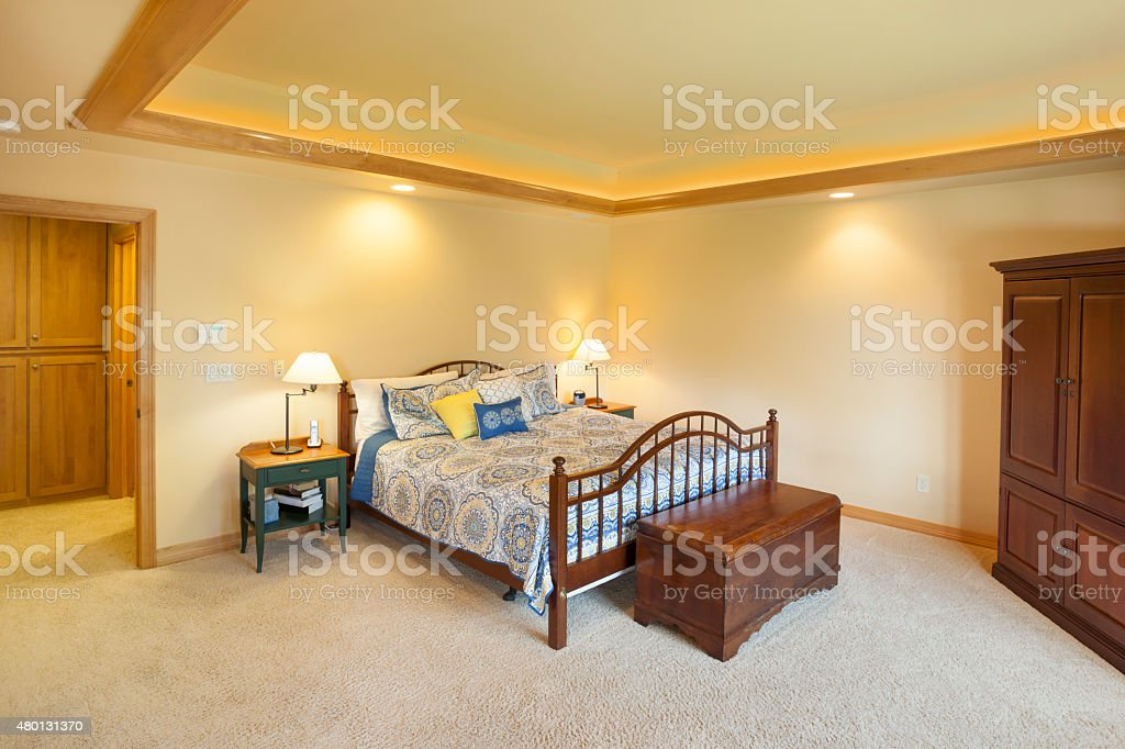 Large But Homey Master Bedroom With Tray Ceiling stock photo