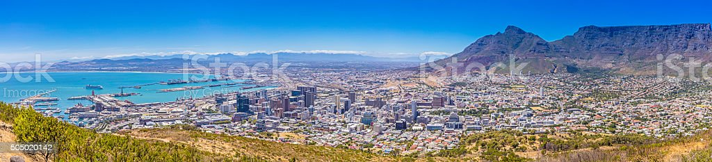 Large Cape Town panorama from the harbour stock photo