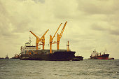 large cargo ship over the sea