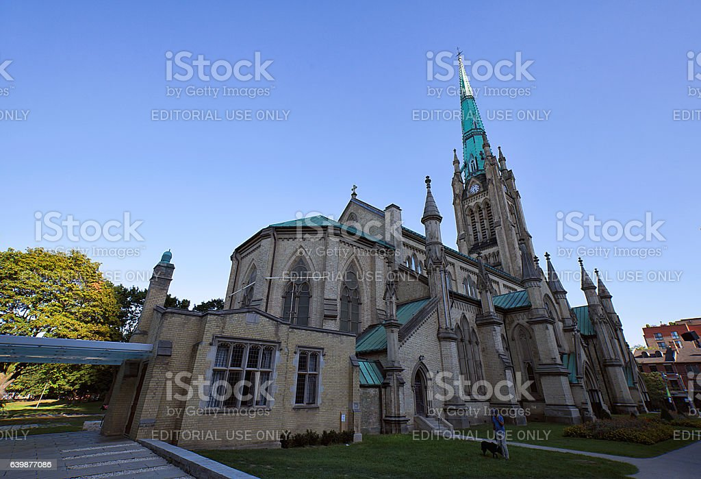 Large cathedral church in Toronto at sunset, Canada stock photo