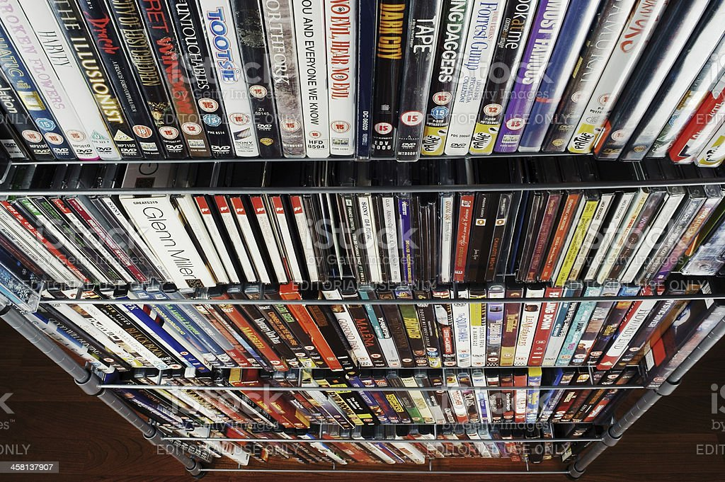 large CD and DVD collection, stacked stock photo