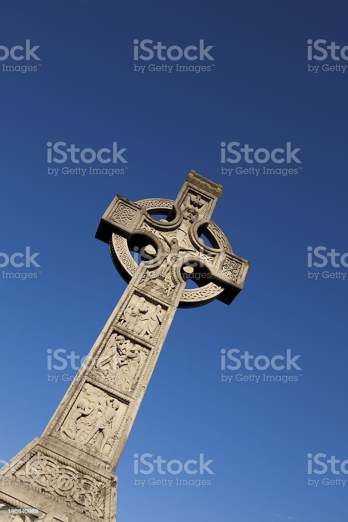 Large Celtic Cross With Blue Sky Background royalty-free stock photo
