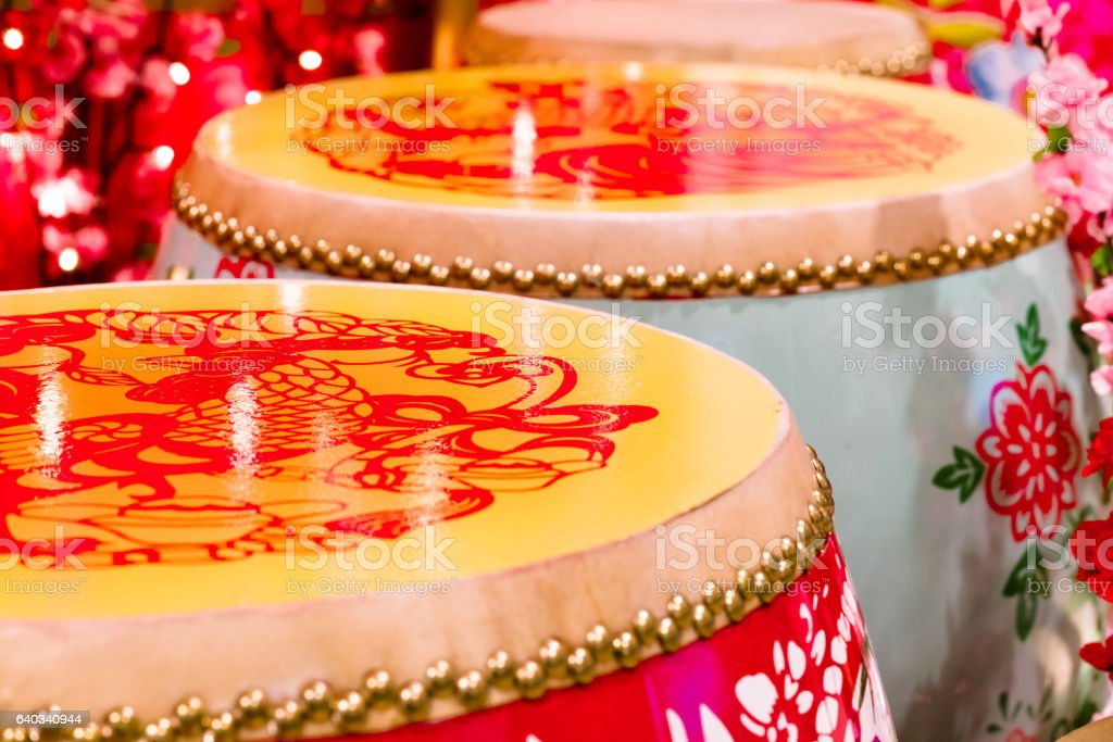 Large Chinese Drums stock photo
