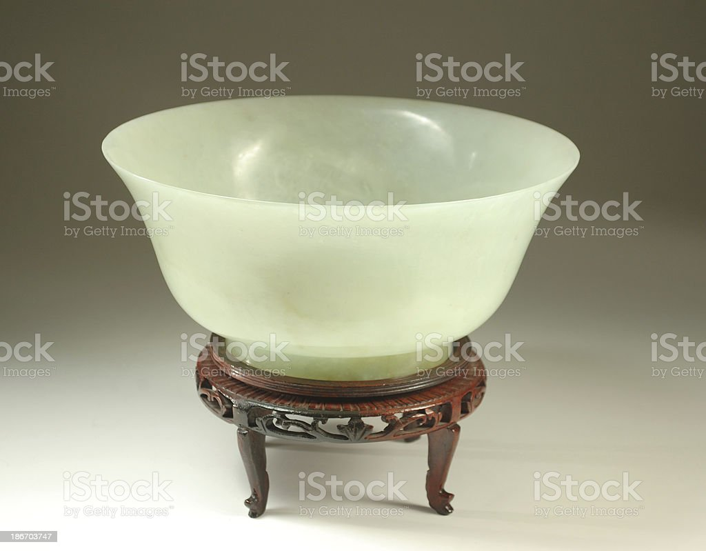 Large Chinese Green Jade Bowl stock photo