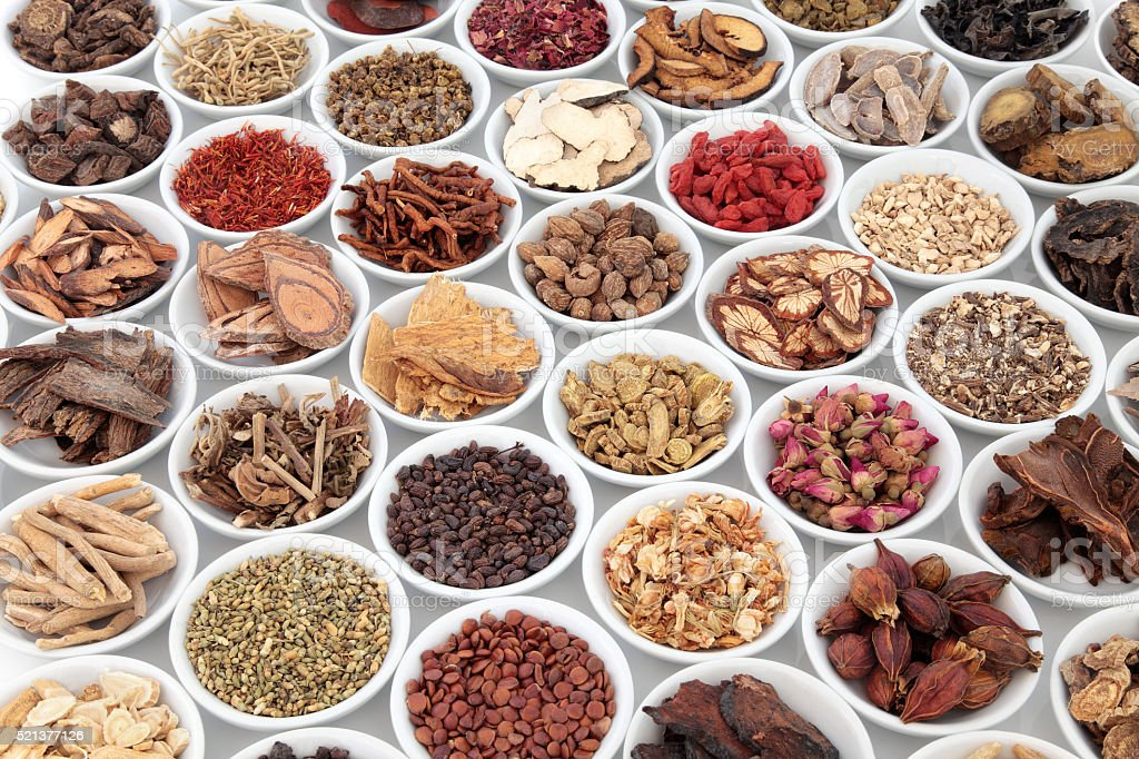 Large Chinese Herbal Medicine Collection stock photo