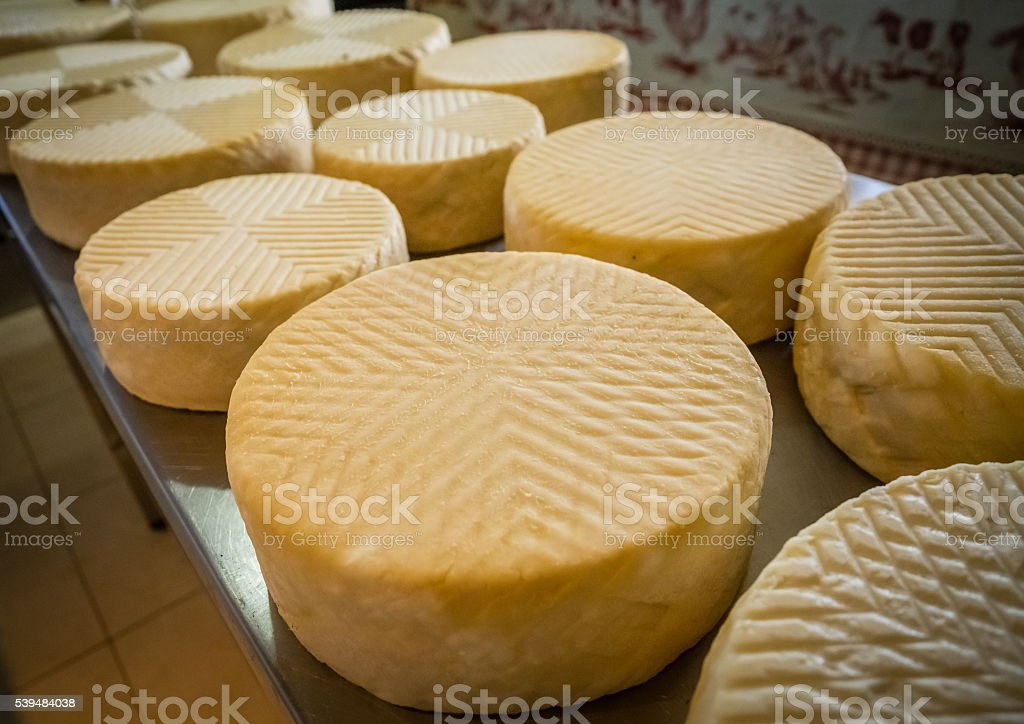 Large chunks of goat cheese stock photo