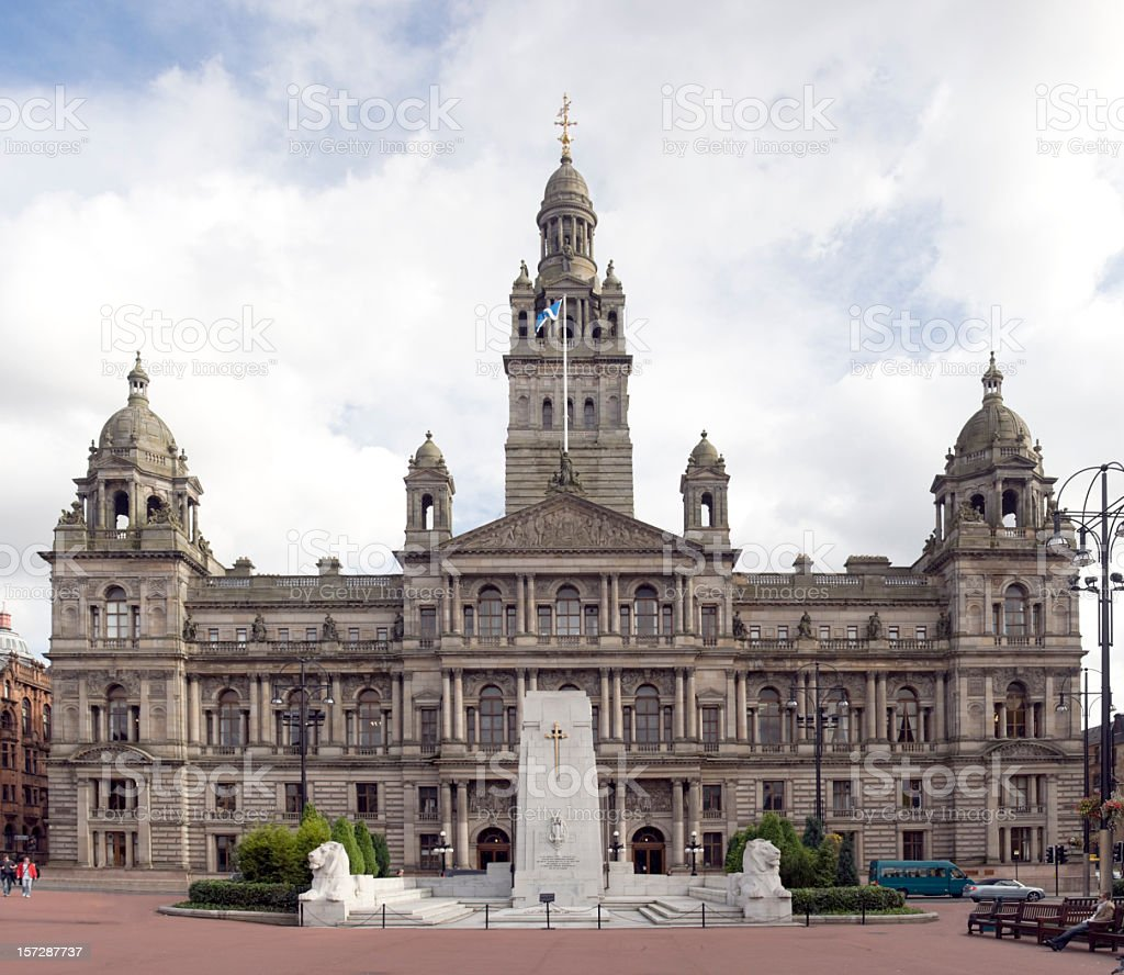 Large City Chambers building in Glasgow, Scotland stock photo