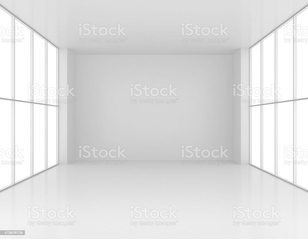 Large clean bright lounge with big windows stock photo