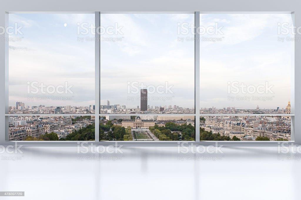 large clean designer office window to skyline stock photo