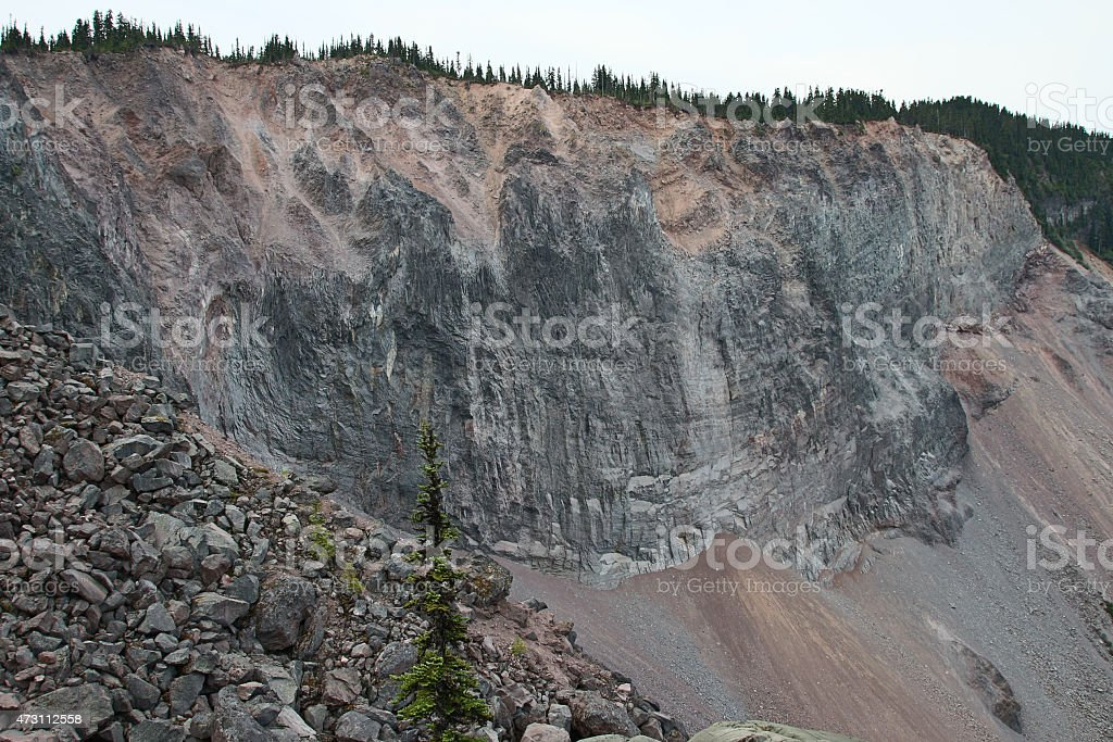 Large cliff created by a Landslide stock photo