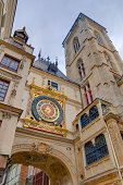 Large clock and tower in Rouen, France