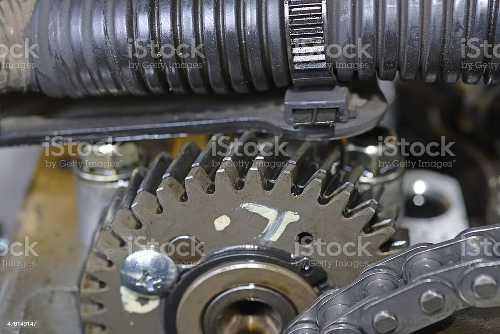 Large cog wheels in the car royalty-free stock photo