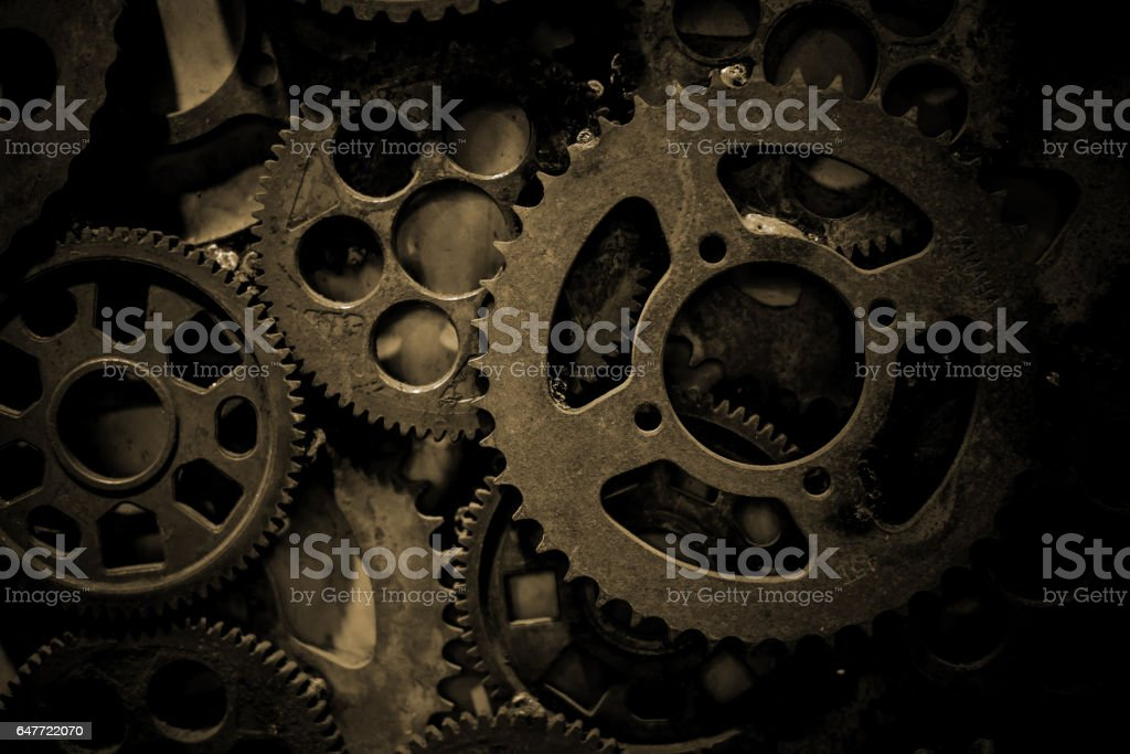 Large cog wheels in the motor stock photo