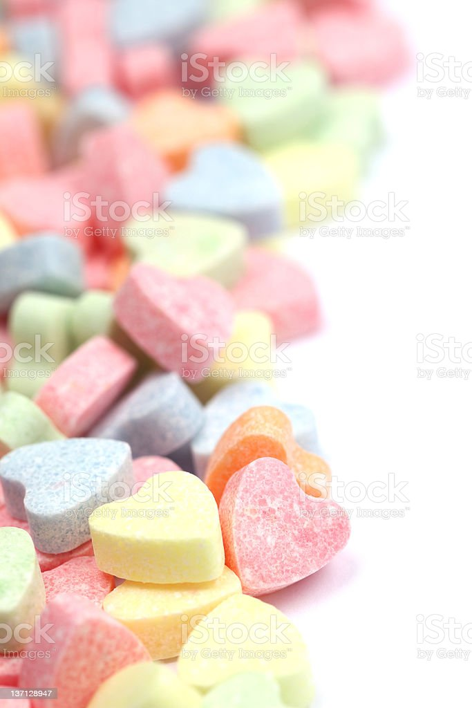 Large collection of candy hearts stock photo