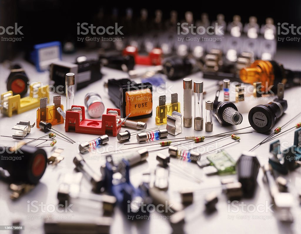 A large collection of electrical fuses stock photo