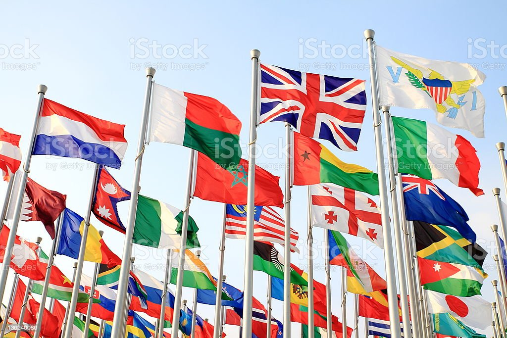 Large collection of flags with the British flag at the front stock photo