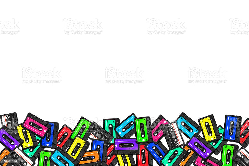 large collection of retro cassette tapes. Multicolored audio tapes. stock photo
