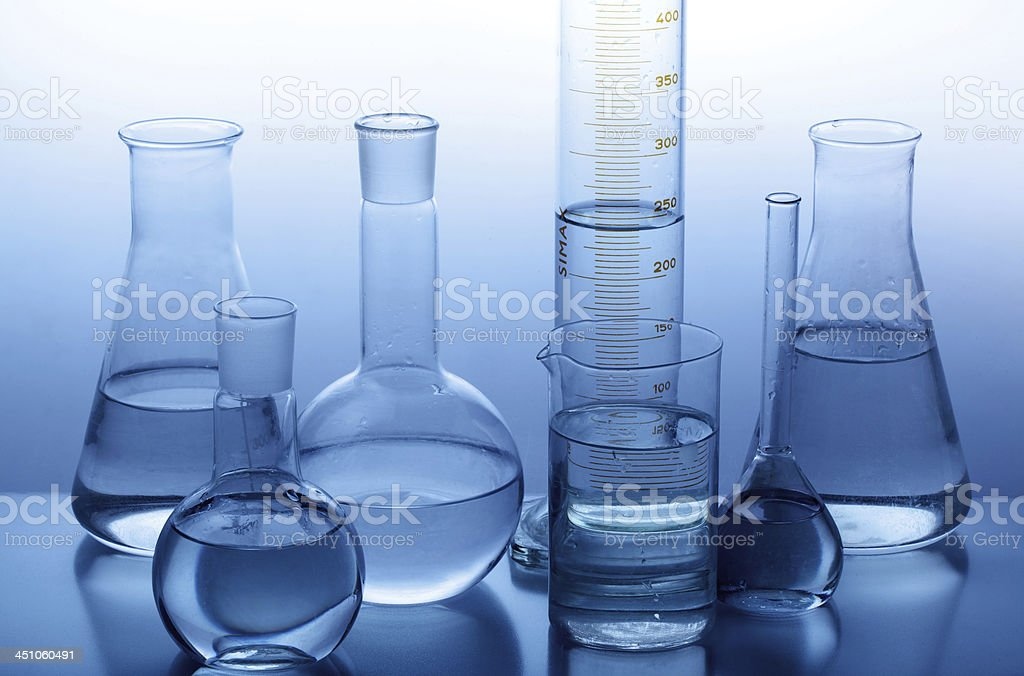 Large collection of scientific glassware stock photo