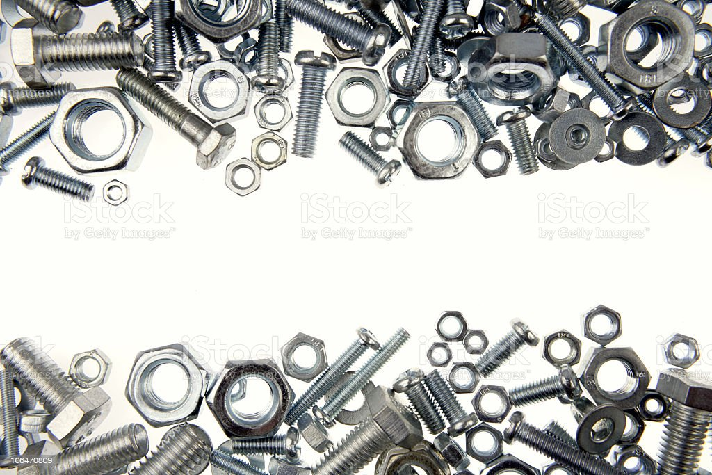 Large collection on nuts and bolts stock photo