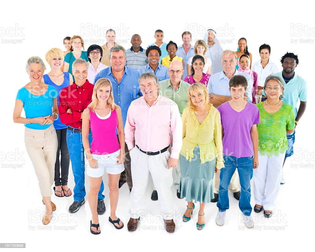 A large colorful group of multi ethnic genuine people royalty-free stock photo