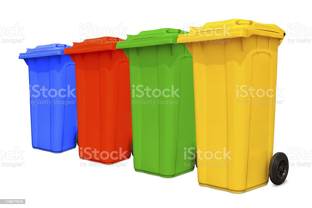 Large colorful trash cans collection royalty-free stock photo