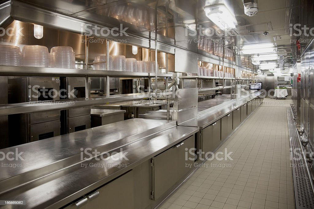Large commercial kitchen stock photo