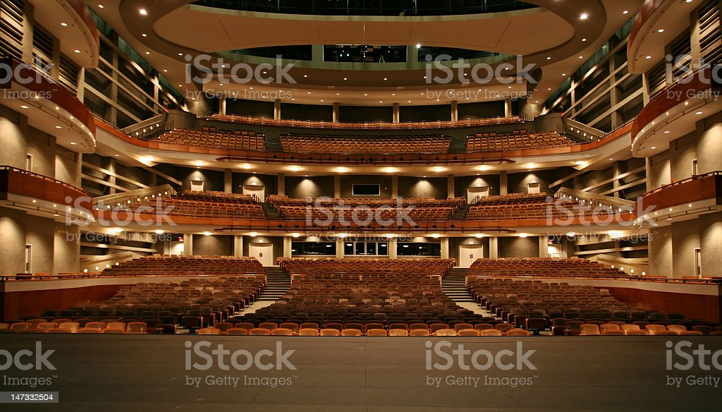 A large concert hall all lit up stock photo