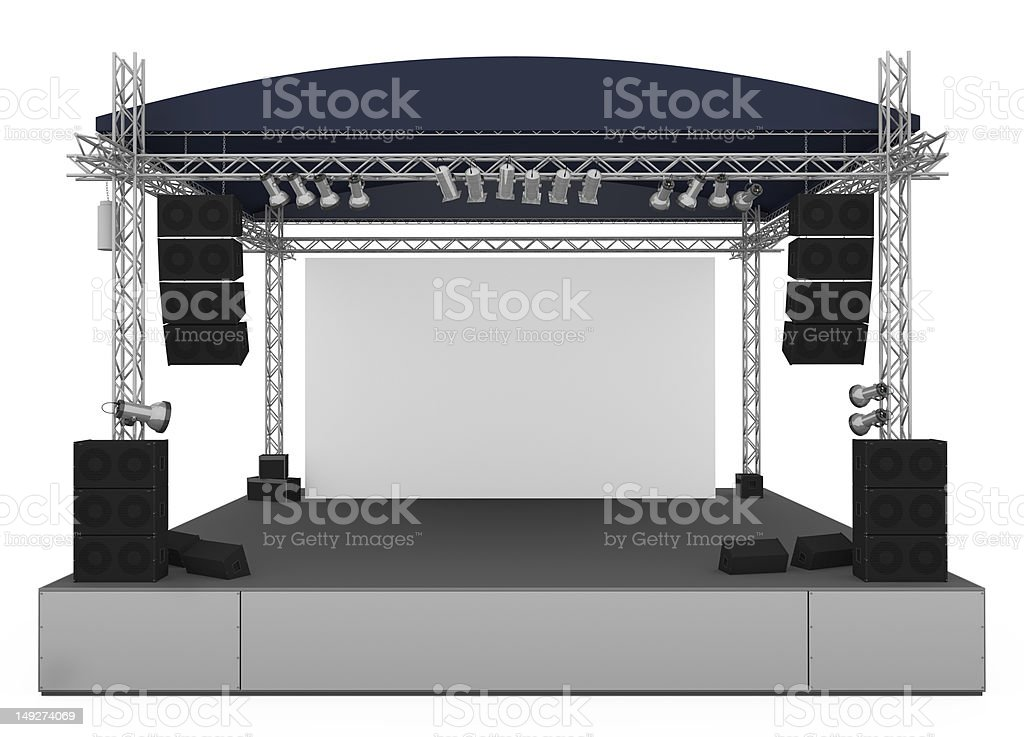 Large concert stage on a white background royalty-free stock photo