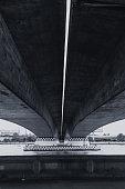 large concrete bridge construction vintage color tone