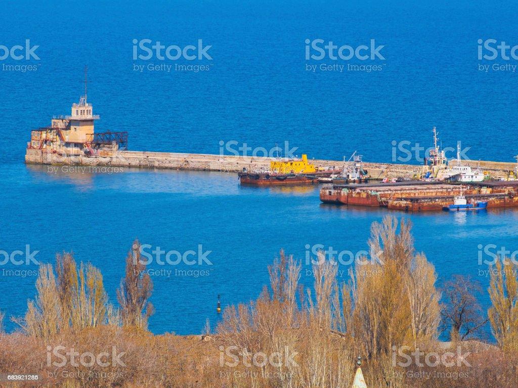 Large concrete pier in the sea stock photo