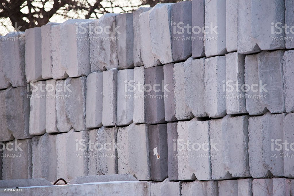 Large Concrete Road Blocks royalty-free stock photo
