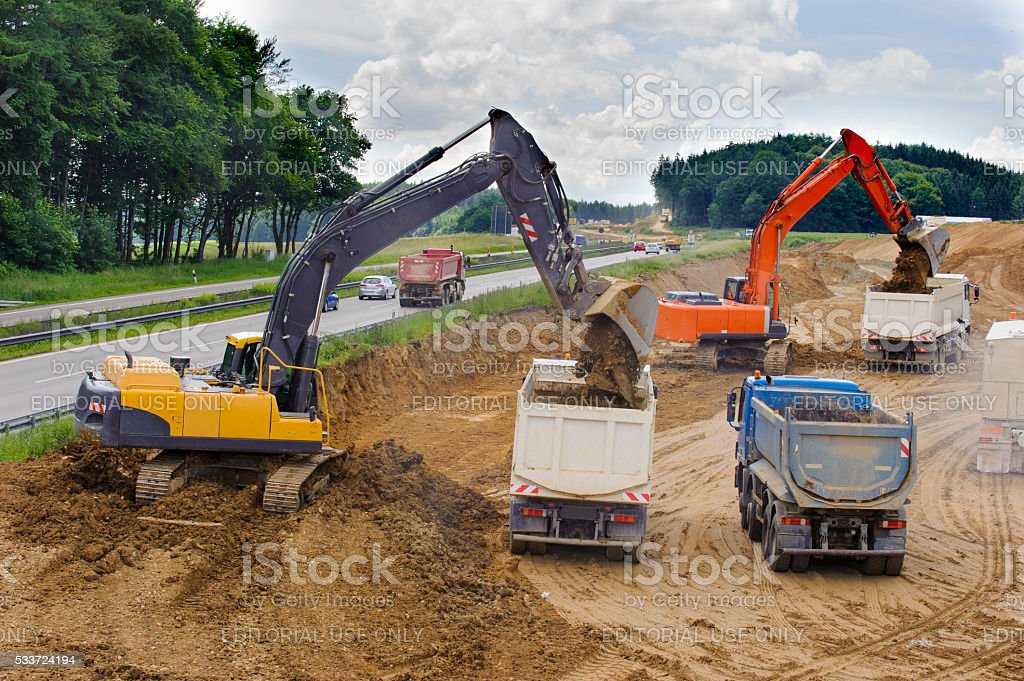 large construction site at highway stock photo