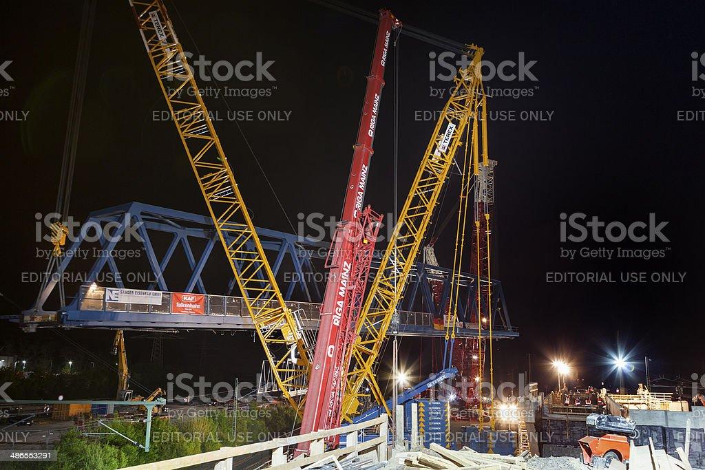 Large construction site, railway bridge stock photo