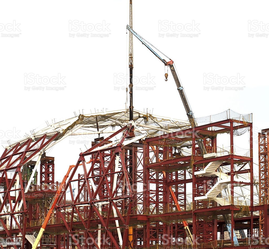 Large Construction Site with Cranes stock photo