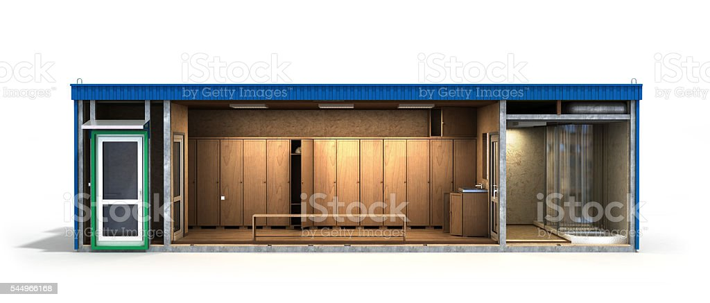 large container building for workers in a cut stock photo