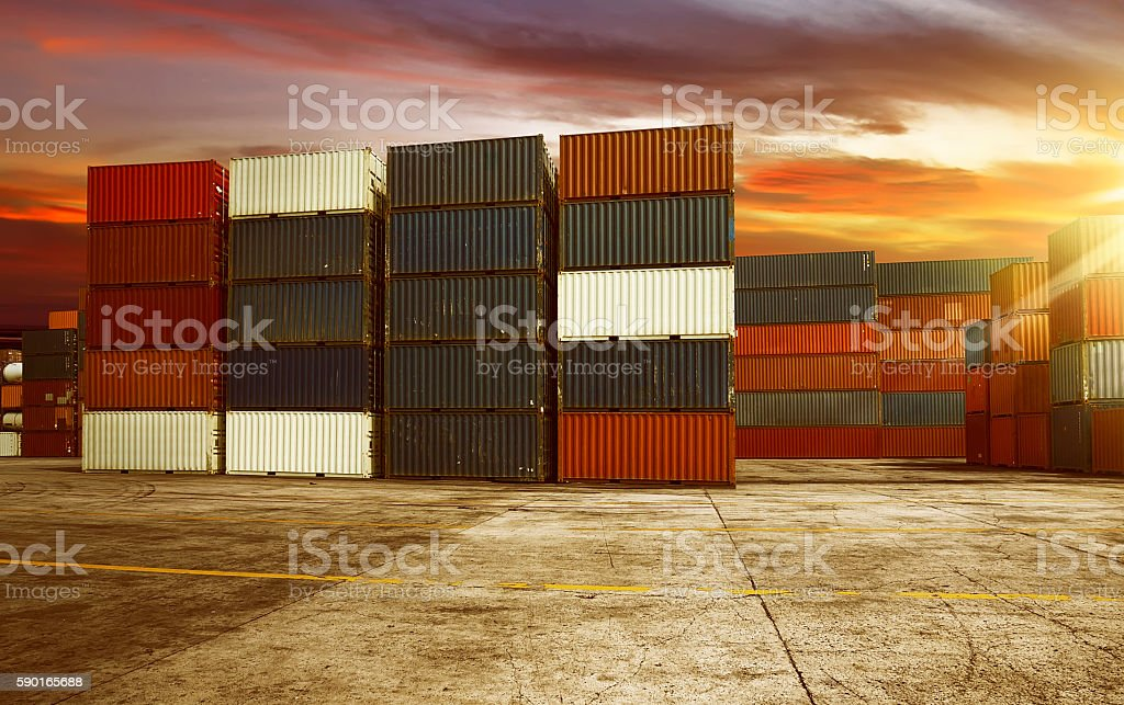 Large container in harbor stock photo