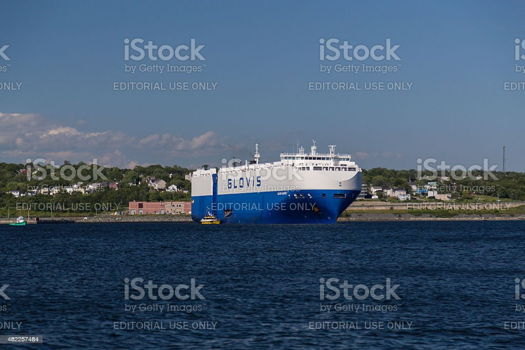 Large Container Ship in Dartmouth stock photo