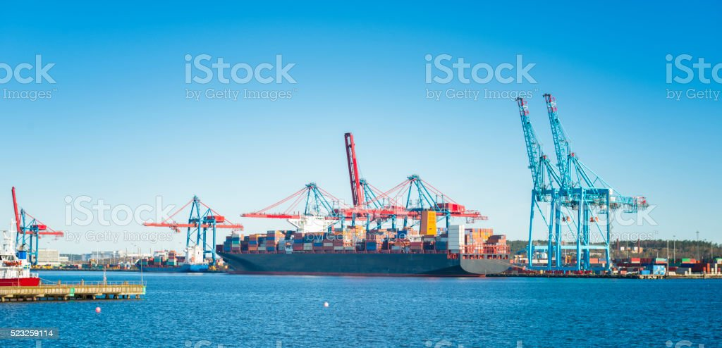 Large Container ship with cargo stock photo