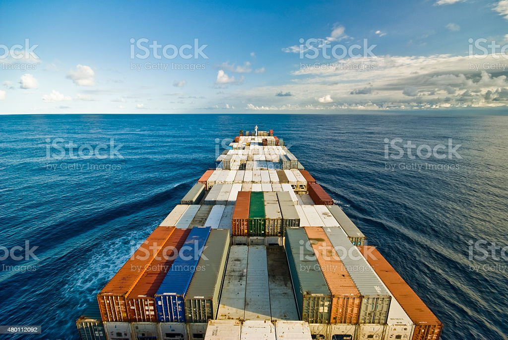 Large container vessel ship and the horizon stock photo