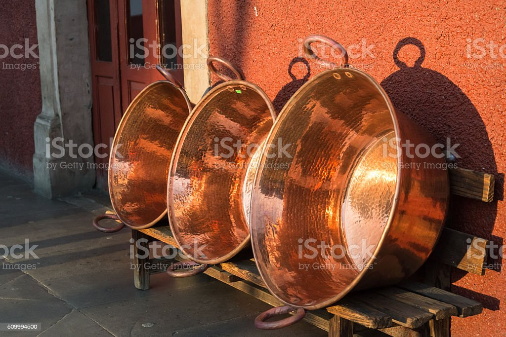 Large copprer vessels stock photo
